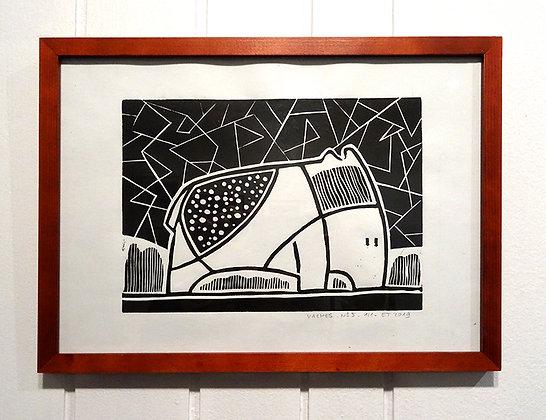 linogravure dessin original animal graphique noir et blanc encadré