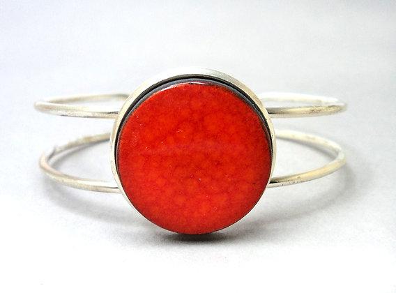 bracelet jonc orange rouge pour femme céramique sur métal argenté