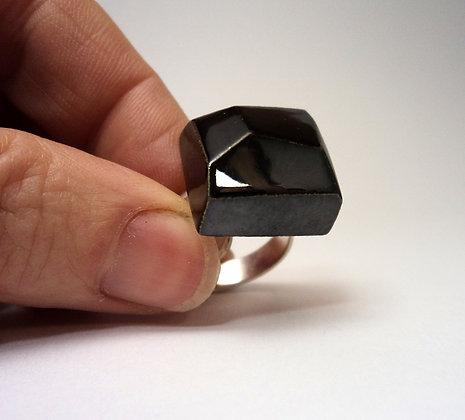 bague diamant noir carré en céramique