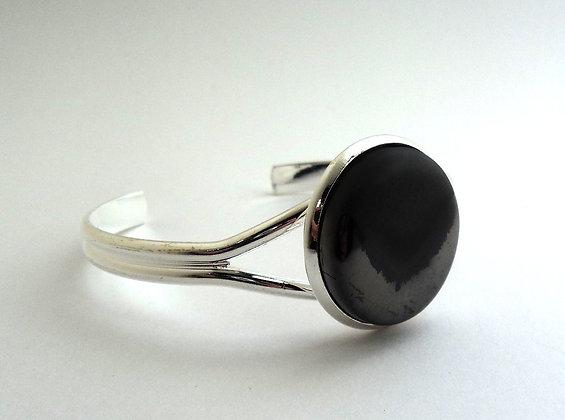 bracelet jonc chic en métal argenté brillant et mat céramique