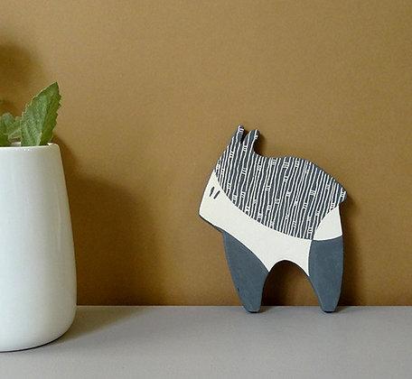 petit animal graphique objet déco en céramique noir et blanc