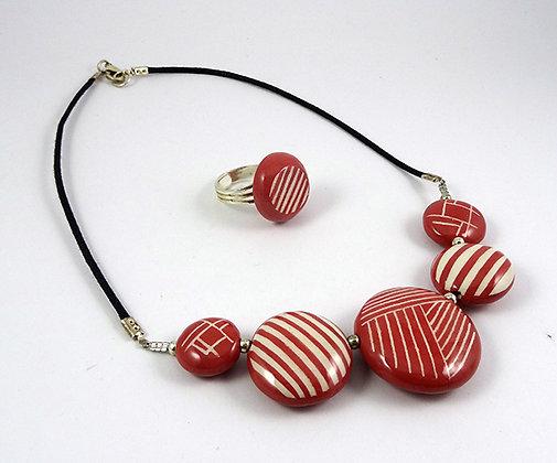 parure ensemble collier bague ronds rayures traits rouge blanc céramique graphique
