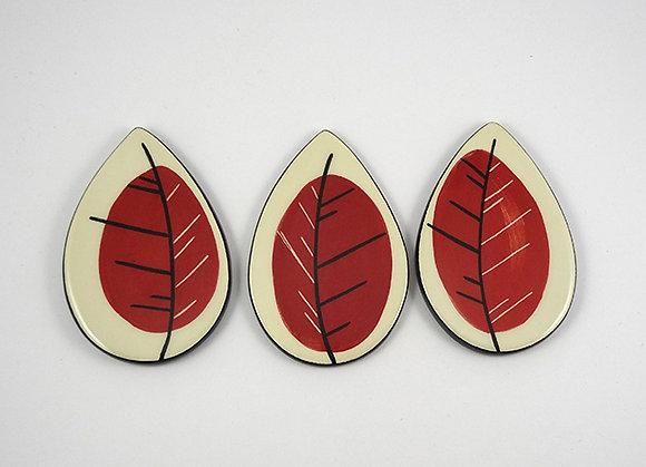 carreau décoratifs en forme de feuille rouge design ceramique original