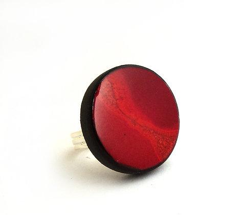 Bague ronde rouge pour femme bijou en céramique réglable