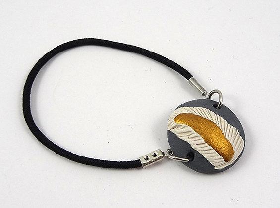 bracelet élastique rond gris blanc doré en céramique minéral