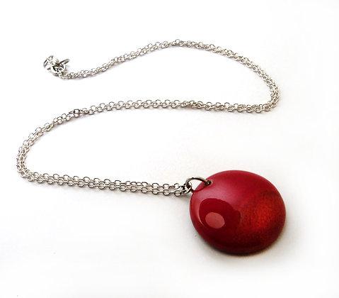 petit collier à pendentif rond rouge en céramique pour femme