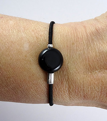 petit bracelet noir bijou homme femme unisexe élastique réglable
