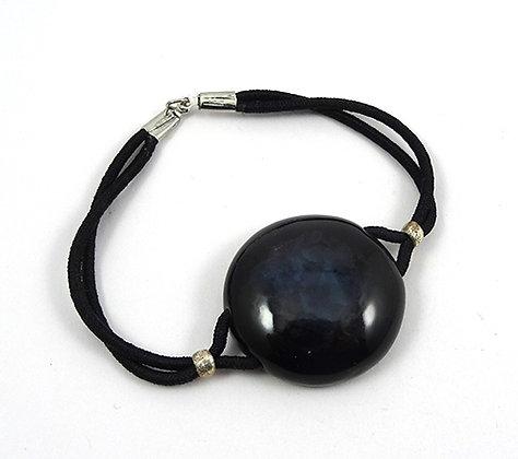 bracelet élastique rond avec perle noire en céramique design