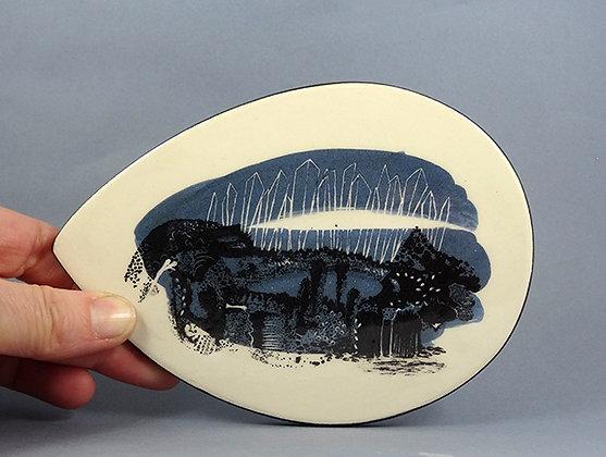 sous plat bleu graphique illustration dessin paysage design céramique