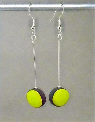 boucles d'oreilles longues ronds jaune vert citron tige argent