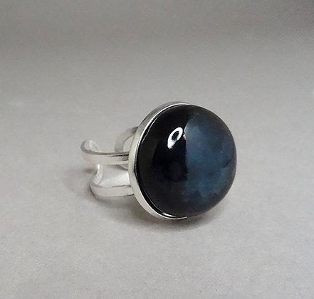 grosse bague chic noire ronde anneau argent perle céramique sertie