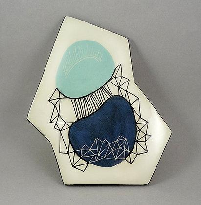 carreau céramique design original forme géométrique bleu peint à la main