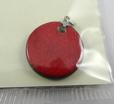 petit pendentif rouge rond avec anneau argent bijou perle en céramique artisanal