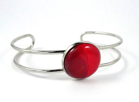 bracelet jonc rond rouge brillant métal argent en céramique