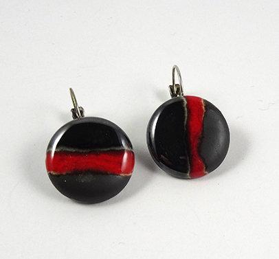 boucle d'oreilles rondes rouge argent noir dormeuses ceramique
