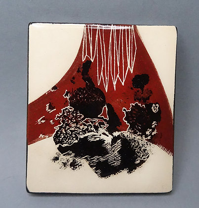 petit carreau de céramique artisanal illustration noir blanc bordeaux