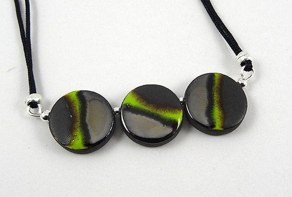 collier argenté vert noir pour femme perles rondes bijou en céramique