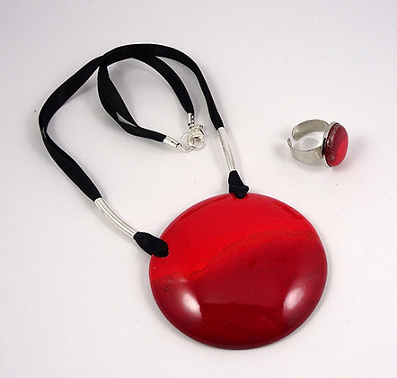parure collier bague rond rouge pour femme bijou de createur ceramique