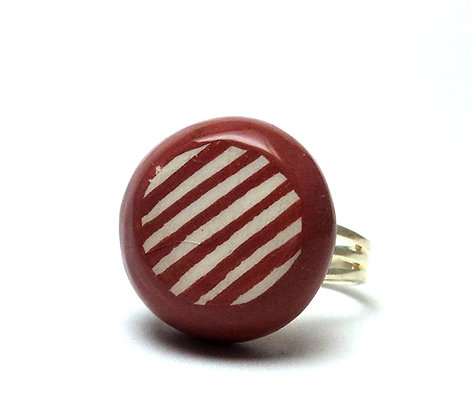 Petite bague rayures rouge en céramique émaillée, bague réglable