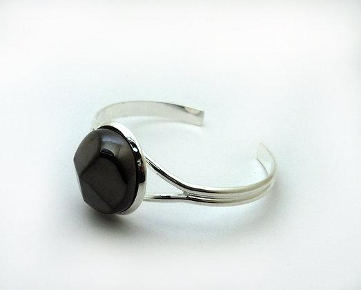 bijou diamant noir en céramique et métal argenté