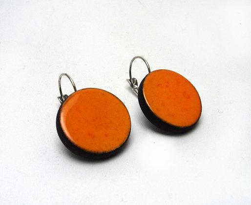 grandes boucles d'oreilles rondes orange en céramique cadeau st-valentin