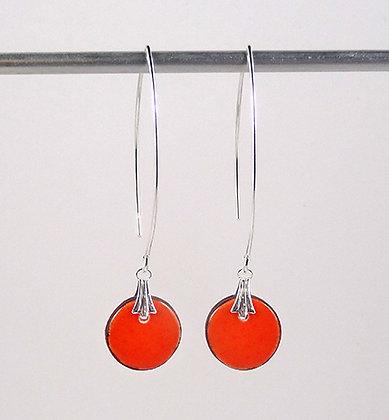 petites boucles d'oreilles longues orange rondes en ceramique