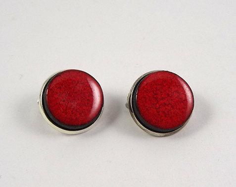 petits clips d'oreilles rouge rond perle céramique sertie métal argenté