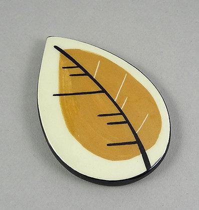 dessous de plat en céramique petite feuille jaune fait main