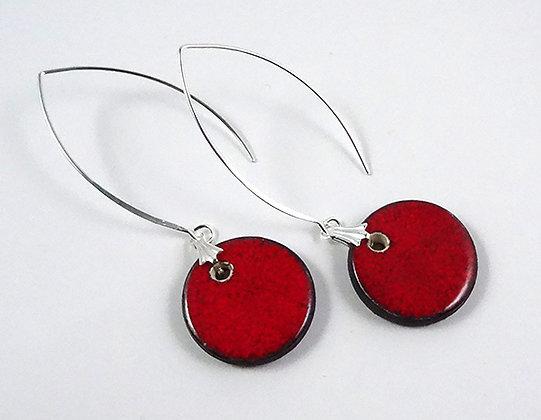 grandes boucles d'oreilles rouge avec crochet design argent