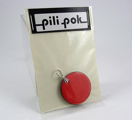 gros pendentif rond orange perle céramique bijou en pochette cadeau