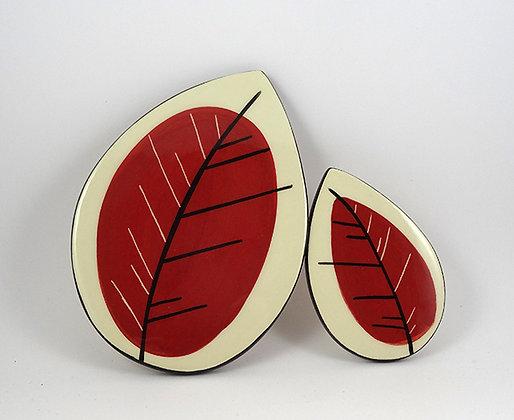 carreaux décoration en forme de feuille rouge design original céramique