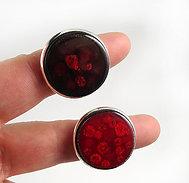 Grande bague ronde bordeaux rouge pois cassis framboise