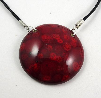 Collier en céramique pendentif rond rouge à pois pour femme