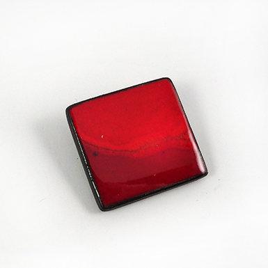 broche carrée rouge pili en céramique bijou de créateur