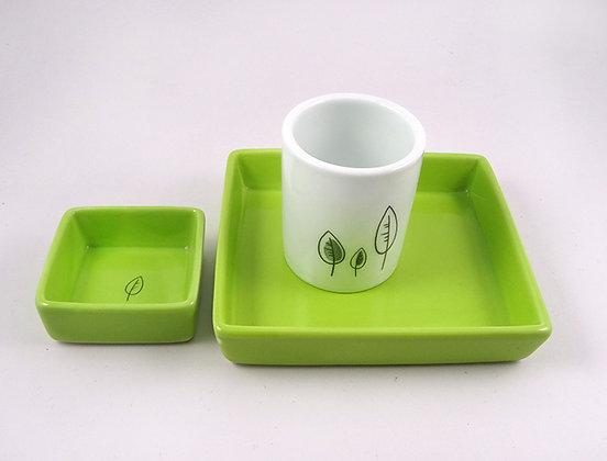 ensemble tasse soucoupe ramequin vert blanc design céramique créateur