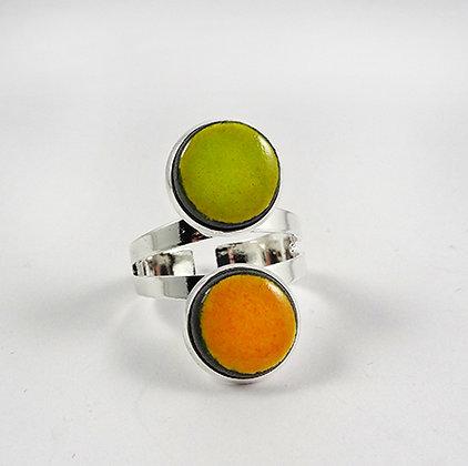 bague bouble pierre ronde jaune vert anneau argent réglable