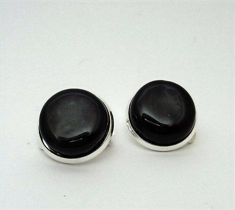 clips d'oreilles ronds noirs boucles rondes chic fermoir clips