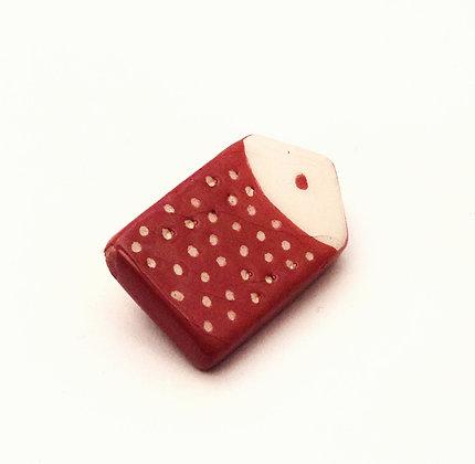 Petite broche à pois rouge peinte à la main, en céramique émaillée