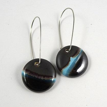 boucles d'oreilles rondes rayures noir gris argent bleu pour femme