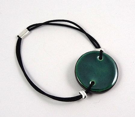 bracelet rond vert émeraude plat en céramique réglable pour femme homme