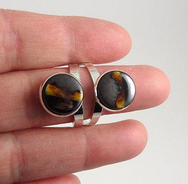Parure collier Bague double réglable jaune argenté noir grisen céramique