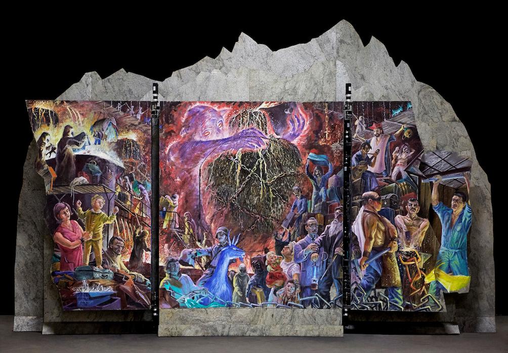 Il Marchingegno artistico Gottardo-Il Ridotto di Tullio Zanovello mescola diversi elementi tra cui quadri in movimento, musica e storie legate al territorio del Gottardo. Questa meraviglia di 1,5 tonnellate è un'opera unica al mondo!