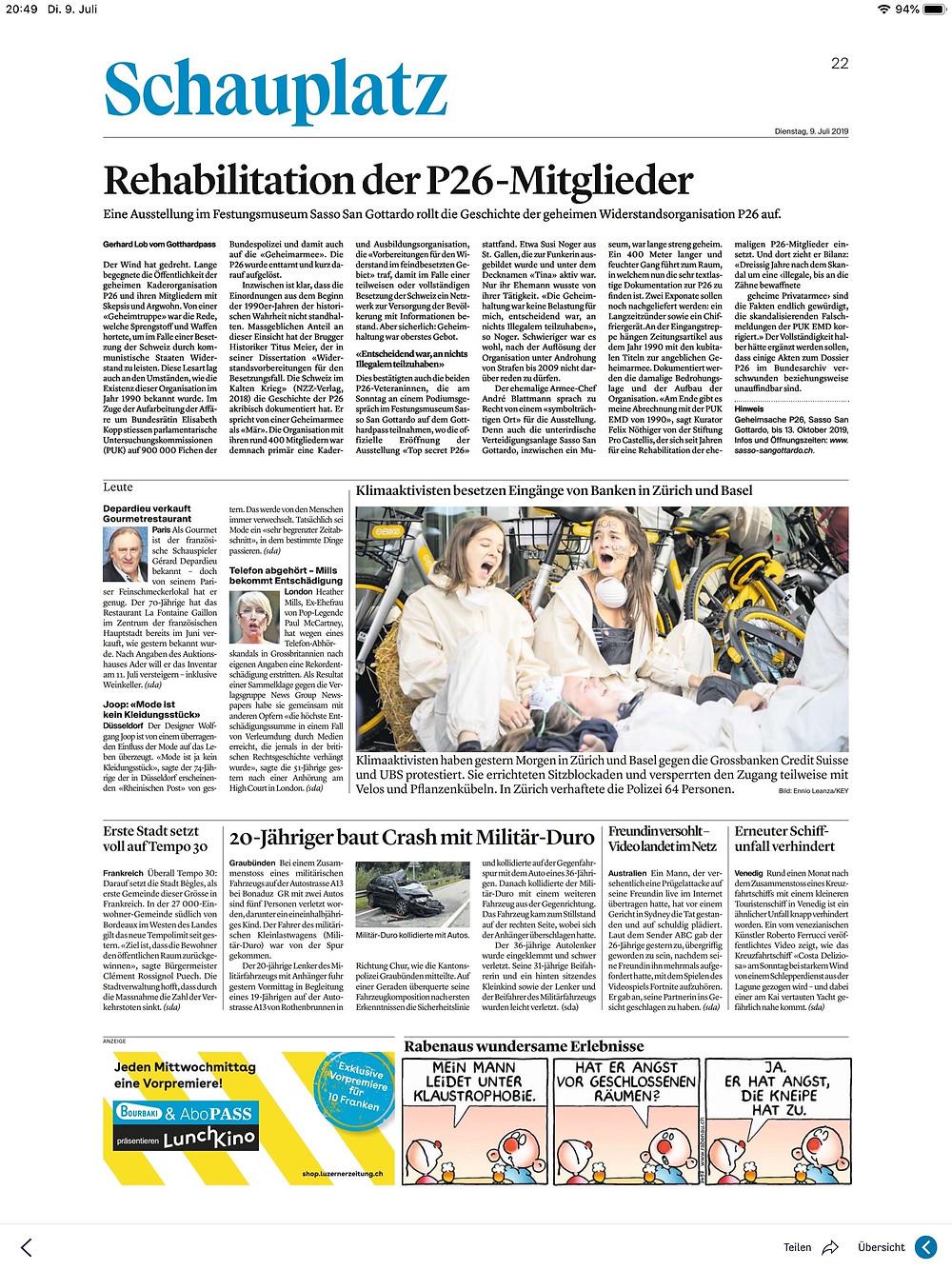 Zuger Zeitung P26 Sasso San Gottardo