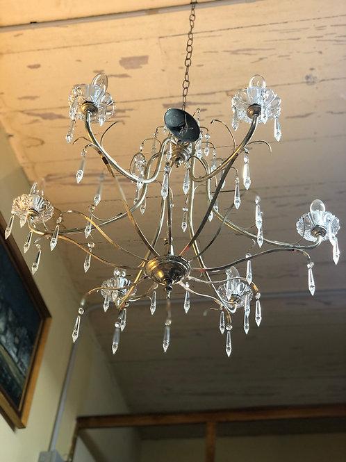 Lámpara de techo Alpaca Plateada con cristales.