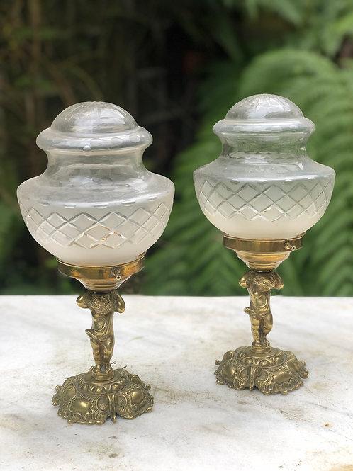 Lámpara mesilla,Pié de Bronce y Tulipa original