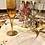 Thumbnail: Juego 6 copas de champán en color y pié dorado.