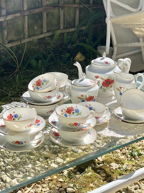 Juego de té porcelana Bidasoa. Años 50.