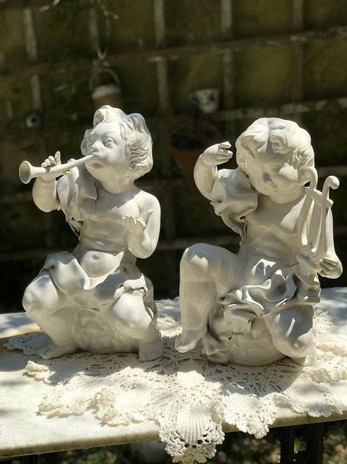 Antiguos ángeles de porcelana italiana ( 2 modelos)