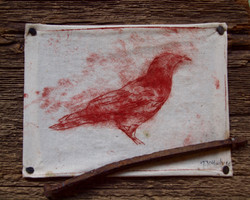 """""""red bird and nail"""" SOLD"""
