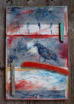 """""""bluebird and fencepost"""" SOLD"""